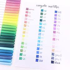 Crayola Supertips 50 Color Chart Pin On Writing