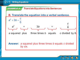 b translate the equation into a verbal sentence