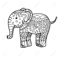 Elephant coloring pages are a fun way for kids with its strong trunk and tusk, and this big animal can be considered the strongest creature alive. Hand Drawn Elephant Coloring Page Coloring Book Page For Adults Royalty Free Cliparts Vectors And Stock Illustration Image 142108728