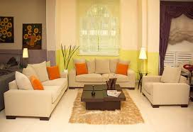 Furniture Fancy Kitchen Design Idea With White Green Living Room Cream  Sofas Orange Cushions Chocolate Table And Light