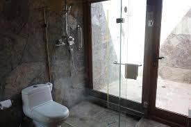looking out door. Indoor Outdoor Shower Bathroom - Looking Out To Picture Door
