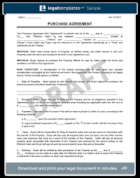 Purchasing Contracts Templates Purchase Agreement Template Create A Free Purchase Agreement