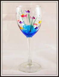fish wine glass painting painted glasses hand inside designs patterns ideas furniture wine glass