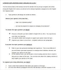literary essay template samples examples format  sample literary exploration essay