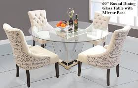 china modern round mirrored dining table 60 inches tempered glass table top supplier