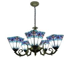 5 light blue white inverted stained glass shade chandelier in antique bronze