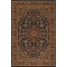 persian classic medallion kashan black rectangle indoor 9 ft 3 in x 12 ft