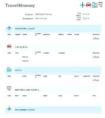 Word Travel Itinerary Template Travel Agent Itinerary Template