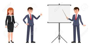 Male And Female Office Workers Making Report On Flip Chart Vector