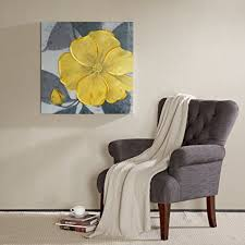 madison park yellow bloom hand embellished floral canvas wall art 30x30 transitional wall d cor on transitional canvas wall art with amazon madison park yellow bloom hand embellished floral canvas