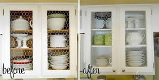 View in gallery Chicken wire kitchen cabinet makeover before and after