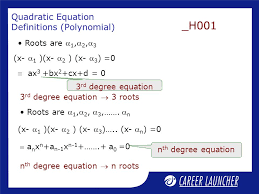 quadratic equation definitions polynomial