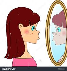 child looking in mirror clipart. child looking in mirror clipart