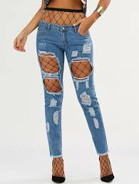 Light Wash Ripped Jeans With Fishnet Tights