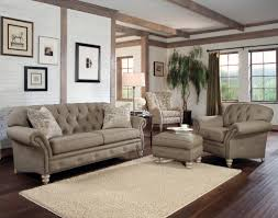 the brick living room furniture. Rustic Modern Living Room With Light Brown Tufted Sofa Chair And Ottoman Table Wooden Legs Hardwood Floor Tiles White Brick Wall Design Ideas The Furniture Z