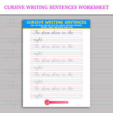 cursive word practice cursive writing sentences worksheet inky treasure