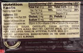 hershey dark chocolate bar nutrition facts. Brilliant Nutrition Hersheyu0027s Special Dark Chocolate Bars King Size  Ingredients To Hershey Bar Nutrition Facts Y