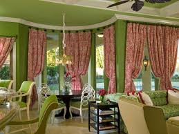 Pink And Green Living Room Splendid Three Window Curtain For Window Treatment Decoration