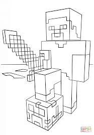 Disegno Di Steve Con Spada Di Diamante Di Minecraft Da Colorare
