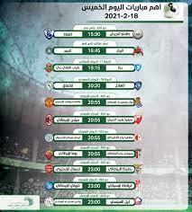 أهم مباريات اليوم الخميس 18 -2 - 2021 والقنوات الناقلة - التيار الاخضر