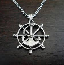 mens nautical necklace anchor mens necklace mens anchor and wheel necklace silver nautical pendant nautical jewelry mens nautical jewelry