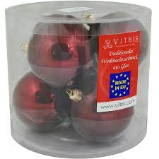 Vitbis Weihnachtskugeln Glas ø 8 Cm 6 Stück Bordeaux Glänzend