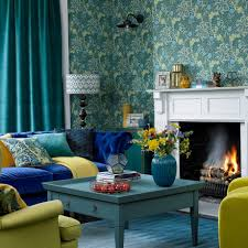 Ideal Home Living Room Bright Blue And Green Living Room With Exotic Wallpaper And Yellow