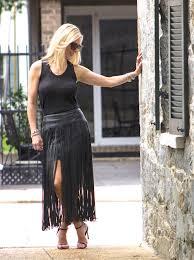 faux leather fringe skirt standingblack1