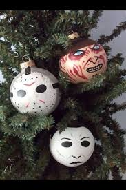 Horror characters made as hand painted holiday ornaments at the Ginger Pots  store on Etsy! Freddy Krueger, Jason, and Michael Myers all available!