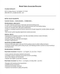 Resume Description For Sales Associate Resume For Retail Sales