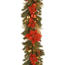 Home Depot Lighted Garland National Tree Company Decorative Collection 9 Ft Home Spun