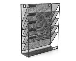 mesh wall mounted hanging file holder organizer literature rack 5 tier black