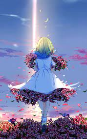 Download Anime girl, spring, flowers ...