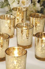 60 gold mercury glass votives candle holders