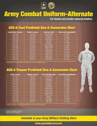 Army Combat Uniform Size Chart Army Ocp Uniform Sizes