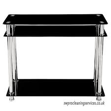 popamazing 3 tier black glass console table hall tables narrow chrome finish leg modern hallway furniture b07588511t