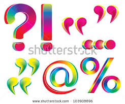 quotes mark rainbow exclamation question mark quotes stock vector 103908896