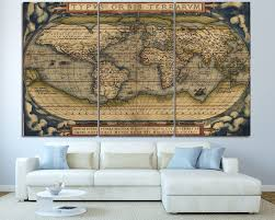 3 piece wall canvas wall art vintage map old map art 3 panel set