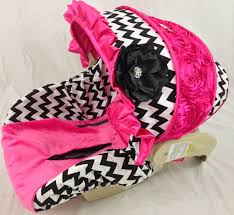 for a girl chevron infant car seat cover with bling and hot pink