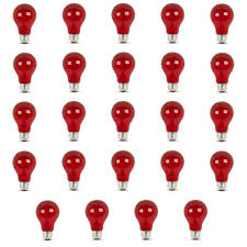 25 watt equivalent a19 medium e26 base dimmable incandescent red colored glass light bulb 24 pack