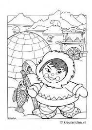 Kleurplaat Noordpool Eskimo Iglo Kleuterideenl Free Printable