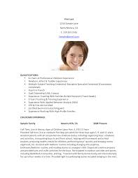 Free Nanny Childcare Resume Templates At Allbusinesstemplates Com