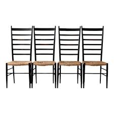 image of mid century black ladder back chairs set of 4