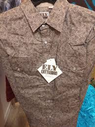 Ely Cattleman Mens Tan Paisley Premium 100 Cotton Shirt