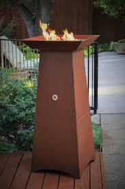 50 inch tall gas fueled garden torch cor ten steel construction fire bowl