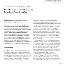 An Evidence Based Template Proposal For Patient Information