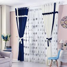 2019 Simple Style Window Curtain Solid Color Stitching Blackout Blue ...