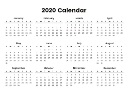 Printable Calendars For 2020 Full Year Calendar 2020