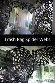 You can use trash bags to make amazing Halloween decor! Trash bag spider  webs are