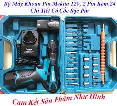 Máy khoan pin Makita 12V 2 Pin Đủ đồ Phụ Kiện 24 chi tiết Bắt Vít, Khoan  TườngMáy Khoan, Vặn Ốc Vít Dùng Pin 12V Có Cốc Sạc